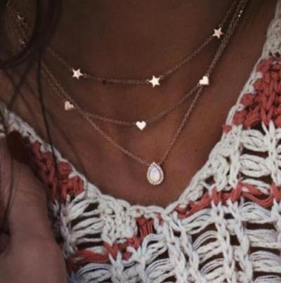 Trendy Women Crystal Pendant Zircon Necklace Round Bead Chain Bohemian Beach Necklace