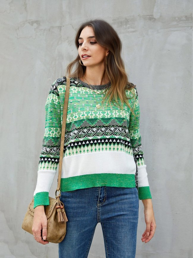 Green Knitted Color-Block Tribal Long Sleeve Sweaters