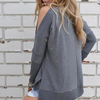 Solid Loose Open Shoulder Long Sleeve T-shirt