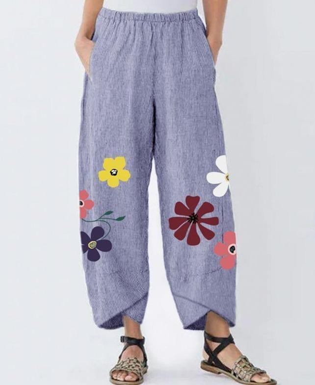 Plus Size Vintage Flowers Printed Pants Women's Pants Long Trousers Cotton Stripe Pockets Pantalones Streetwear
