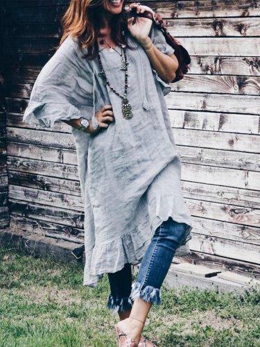 Solid Boho Long Sleeve V Neck Linen Maxi Dresses