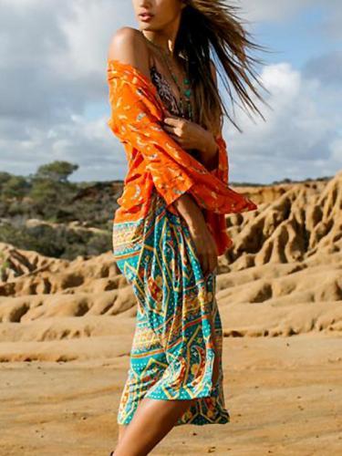 Beach Sunscreen Cardigan Loose Printed Bikini Blouse