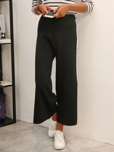 Plus Size Women Striped Casual Wide Leg Pants