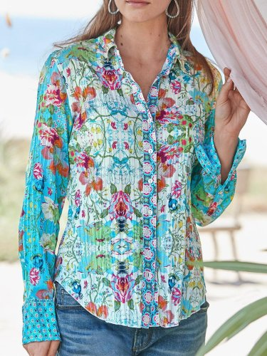 Blue Cotton Long Sleeve Shirts & Tops