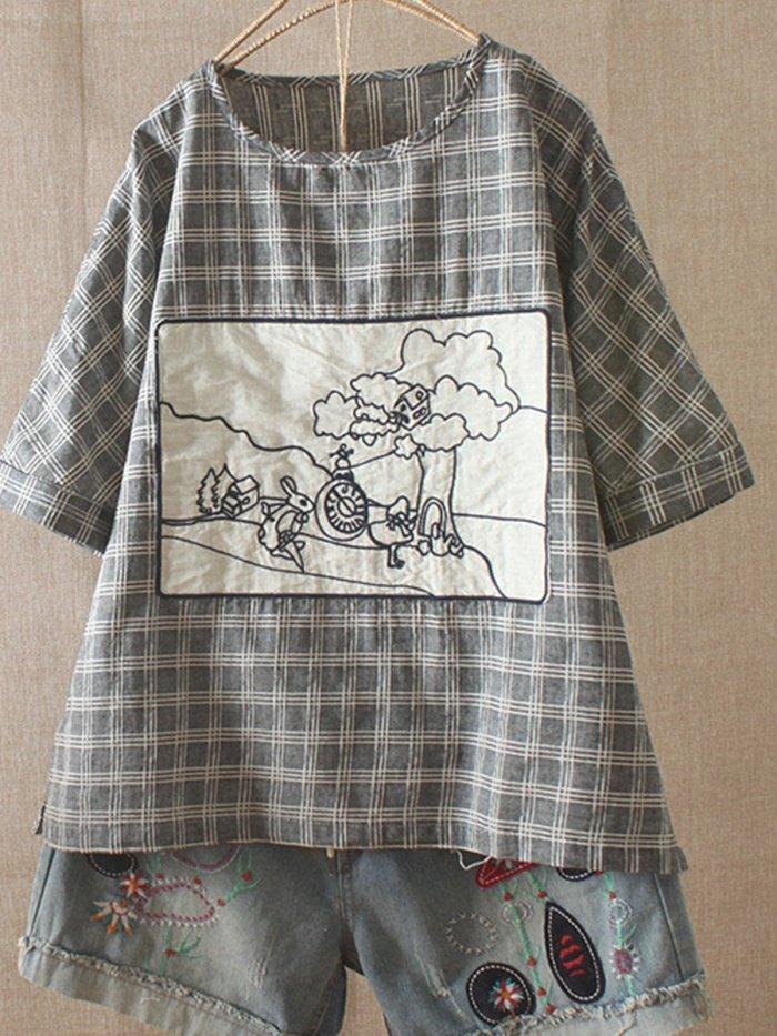 Cotton-Blend Sweet Short Sleeve Shirts & Tops