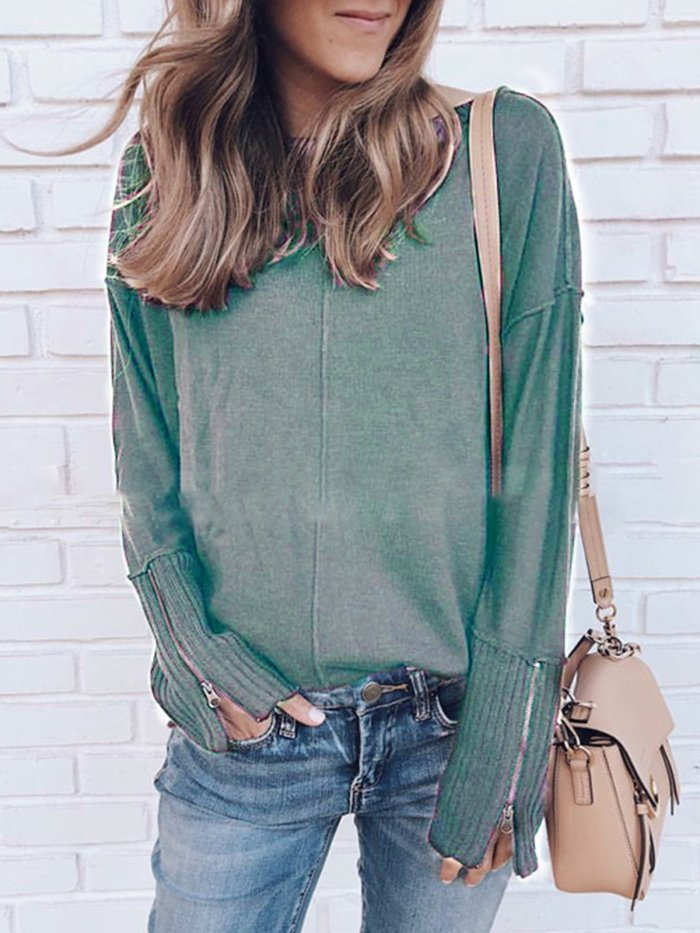 Holiday Long Sleeve Zipper Plain Knitted Sweaters
