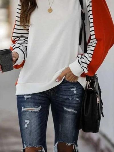 White Color-Block Casual Sweatshirt