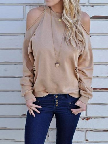 Apricot Long Sleeve Cotton Plain Shirts & Tops