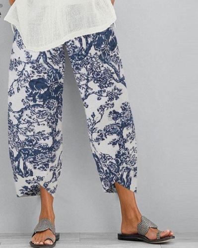 Summer Cotton Linen Trousers Floral Printed Pants Casual Elastic Waist Loose Pantalon Turnip