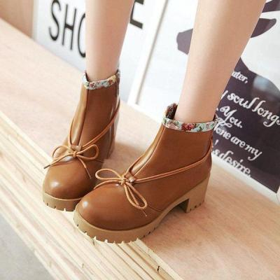 Plus Size Bowknot Chunky Heel Zipper Casual Boots
