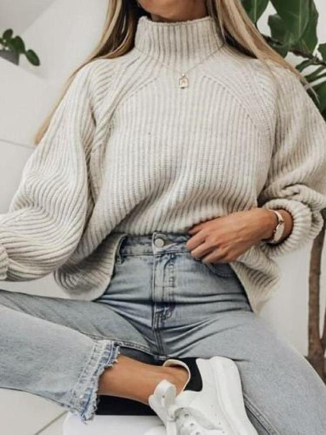 Casual High Collar Solid Color Pit Loose Knit Sweater