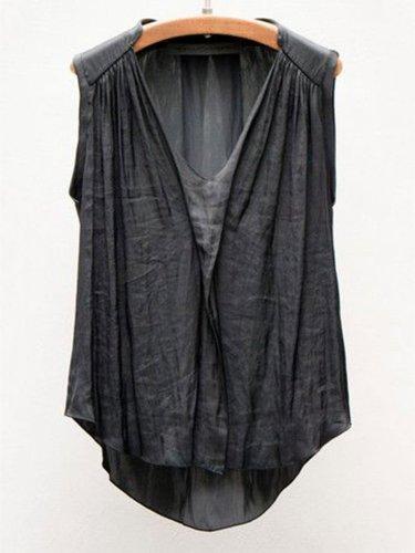 Sleeveless V Neck Solid Shirts & Tops