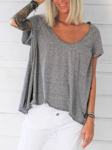 Grey Short Sleeve V Neck Shirts & Tops