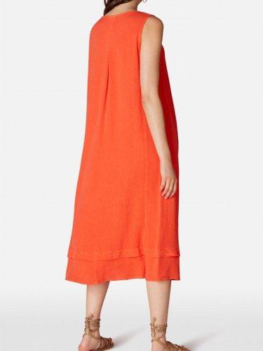 Linen Loose sleeveless dresses