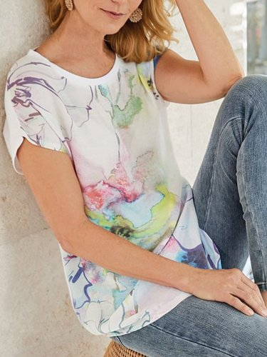 Casual Short Sleeve Printed/dyed T-Shirt