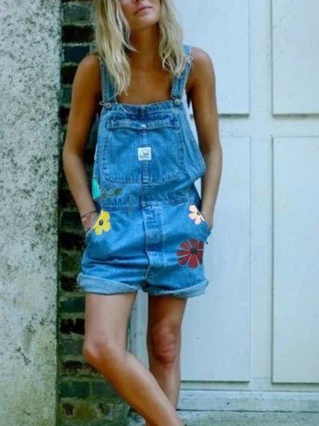 Plus Size Floral Denim Sleeveless Jumpsuits