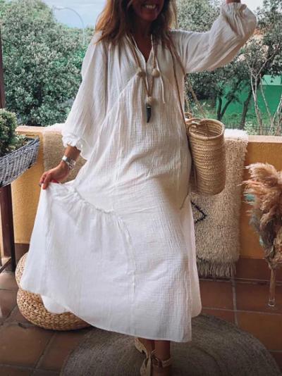 White V Neck Patchwork Holiday Dresses