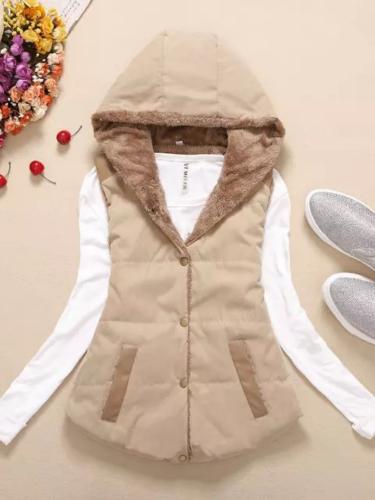 Coral Velvet Sleeveless Solid Cotton Hoodie Appliqued Vest