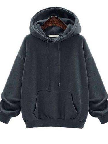 Solid Color Pocket Thicken Hooded Sweatshirt