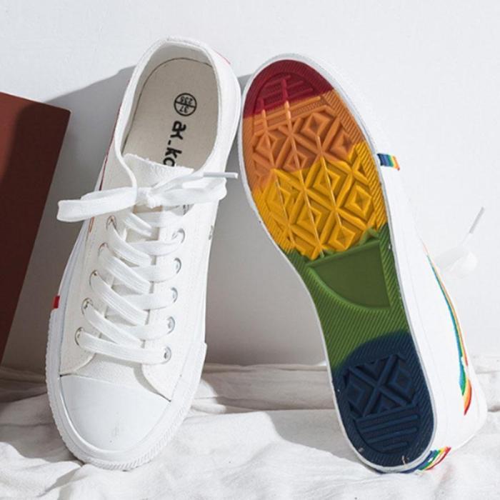 Korean Version Of Rainbow Canvas Shoes