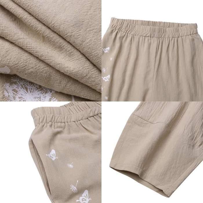 Casual Elastic Waist Floral Printed Pantalon Trousers Summer Harem Pants