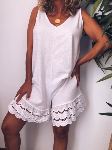 White Casual Sleeveless V Neck One-Pieces