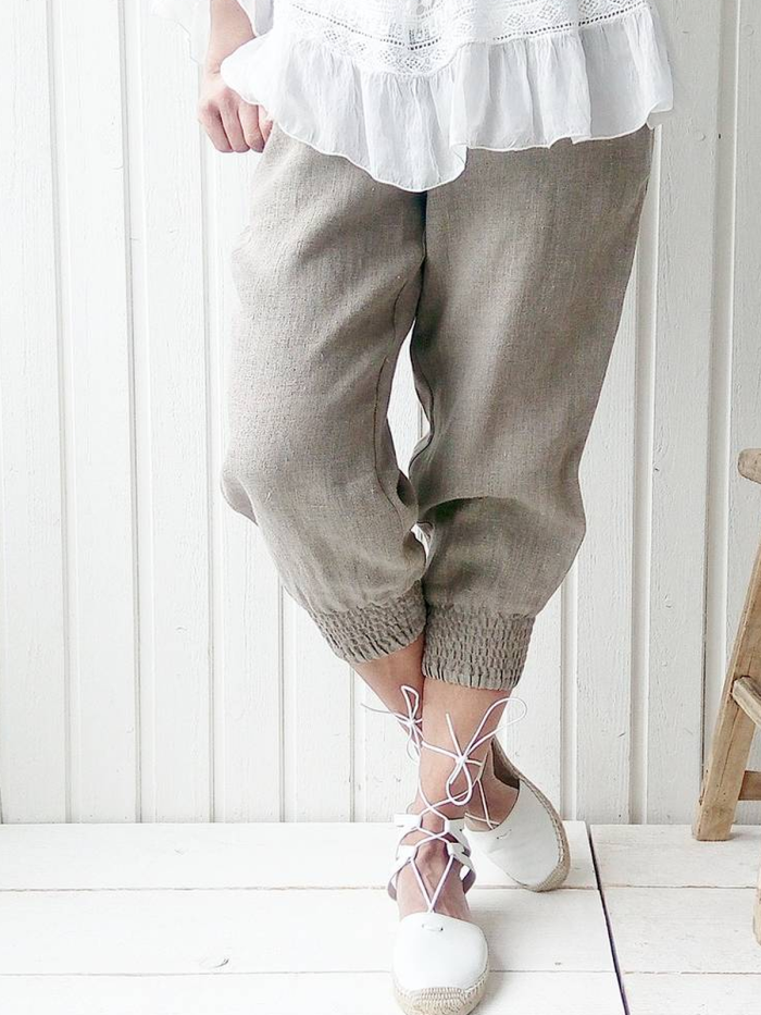 Cotton-Blend Casual Solid Pants
