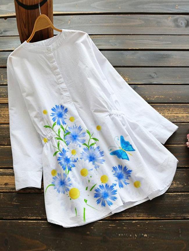White Pastoral Cotton-Blend Floral Shirts & Tops