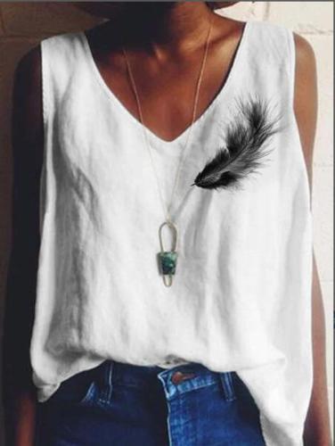Cotton-Blend Sleeveless V Neck Shirts & Tops