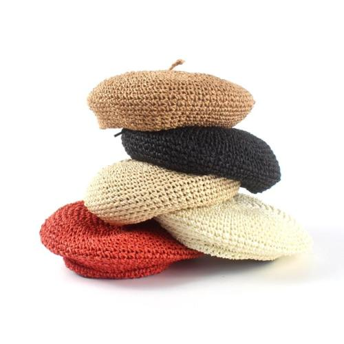 Hats For Women Solid Color Beret Straw Solid  Women Casual Spring Holiday Artist Caps