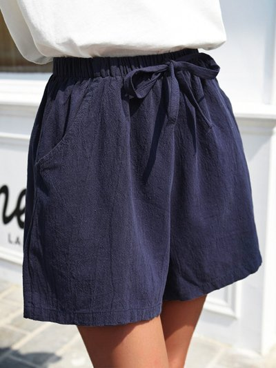 Women Shorts Pockets Drawstring Solid Casual Shorts