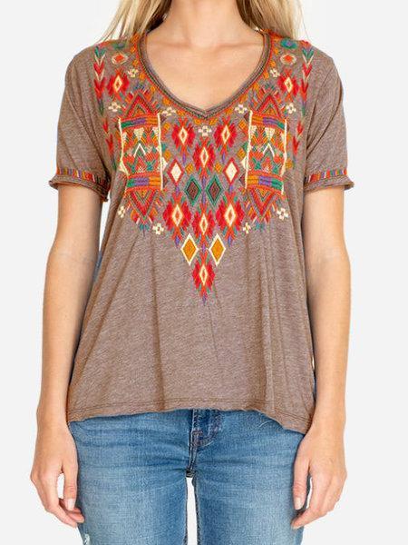 Cotton-Blend Floral Short Sleeve Shirts & Tops