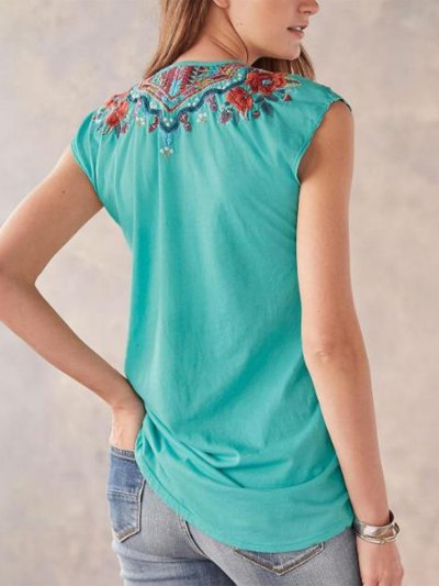 Casual V Neck Printed Sleeveless Blouse