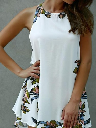 White Crew Neck Sleeveless Boho Dress