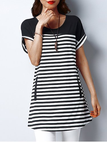 Plus Size Women Short  Sleeve  Round Neck  Striped  Casual  Tops