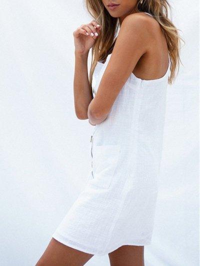 Summer Dresses Square Neck Spaghetti-Strap Pockets Sweet Dresses