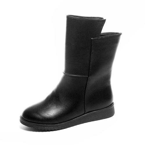 Black Wedge Heel Winter Daily PU Boot