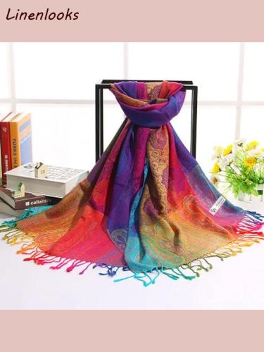 Rainbow Cotton Jacquard Scarves Shawls Silk Scarfs