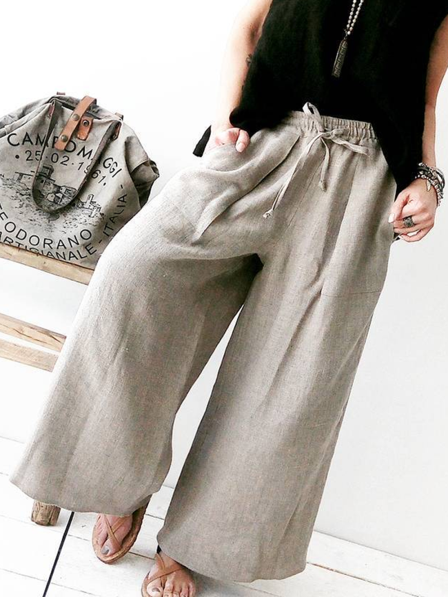 Casual Solid Cotton-Blend Pants