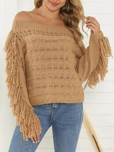One-Neck Loose Sweater Tassel Women's Sweater