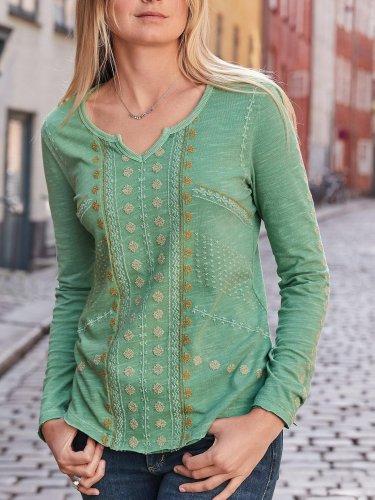 Long Sleeve V Neck Casual Shirts & Tops