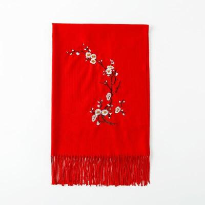 New Winter Lady Soft Wool Shawls Flower Embroidery Cashmere Female Wraps Capes