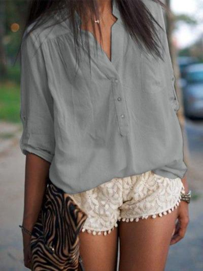 Casual V-Neck 3/4 Sleeve Plus Size Tops