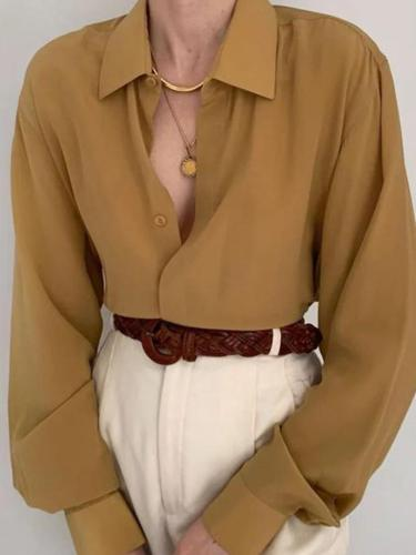 Khaki Shift Long Sleeve Chiffon Shirts & Tops