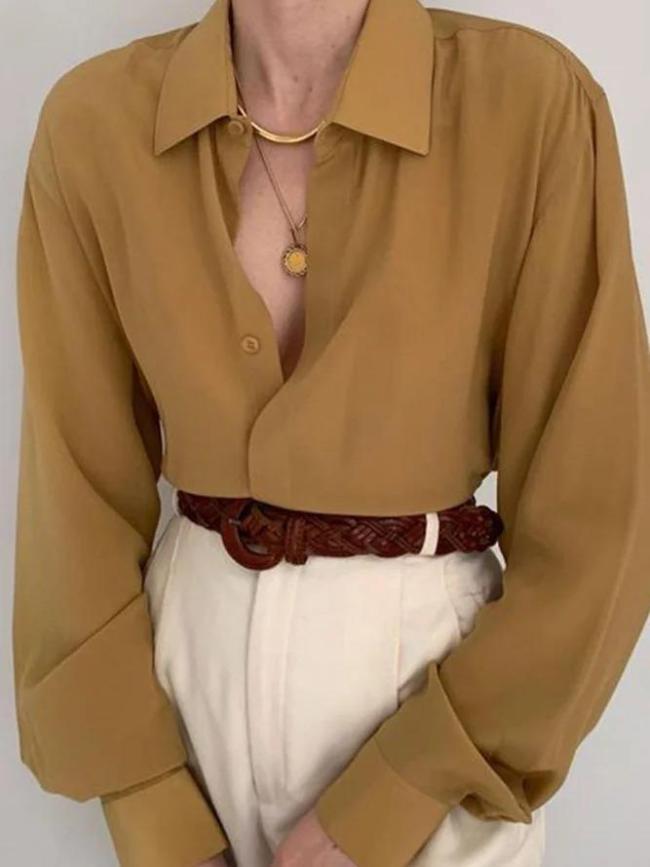 Khaki Shift Long Sleeve Chiffon Shirts & Tops