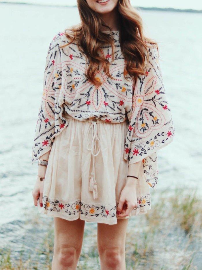 Boho V Neck Floral-Print Dresses