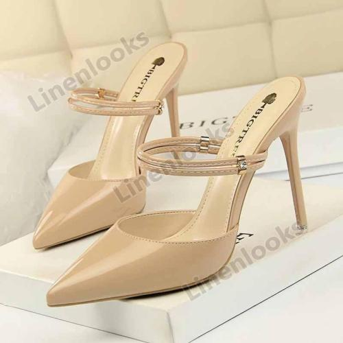 3 Way Wear Women Fashion High Heels Pointed Toe Mule Slides Stilettos Slingback Pumps Shoes