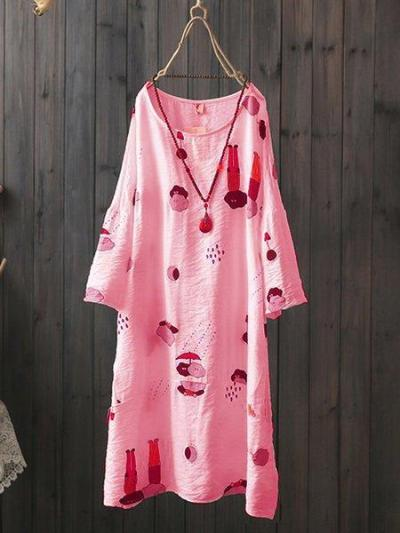 Round Neck Short Sleeve Floral Cotton-Blend Dresses