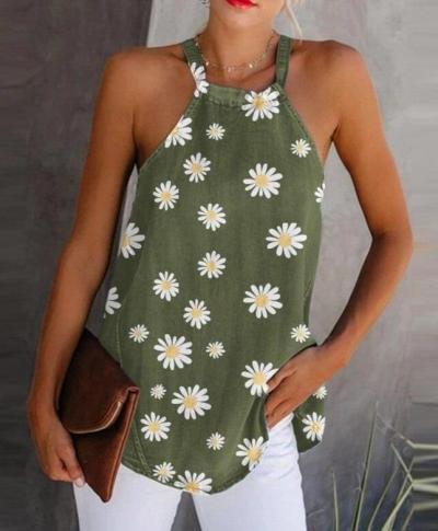 Daisy Print Elegant Halter Top 2020 Summer Sleeveless Cotton Linen Blouses Shirt