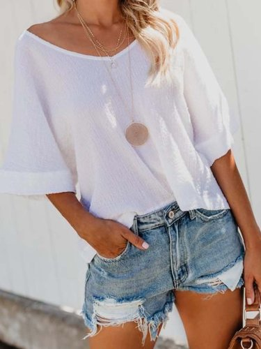 White V Neck Plain Casual Cotton Shirts & Tops